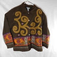 Half Moon Bay 100% Cotton Brown Fall Pattern Light Weight Jacket. Size XL