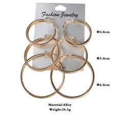 3 Pairs set Fashion Chunky Earrings Ear Rings Studs Stud Hoop Hoops Mens Womens