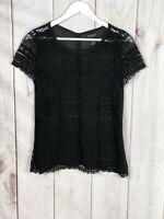 White House Black Market Womens Black Crochet Short Sleeve Top Sheer Back Size 6