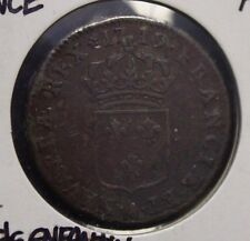 French Colonial 1719 A Sol Louis XV   very nice detail trace corrosion
