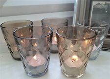 Set of 5 Glass Faceted Tea Light Candle Holder Votive Christmas Table Decoration