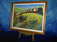 Signed & Numbered PASSING TRAIN Framed Art Print - Locomotion Locomotive Picture