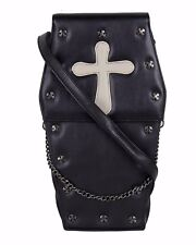 GOTHX COFFIN GREY CROSS Steam Punk Rock Goth Backpack Cross Body Handbag PU Bag