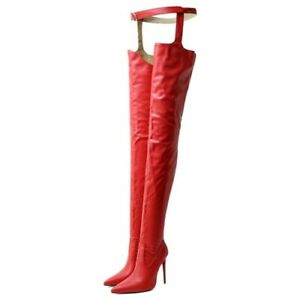 Woman PU Leather Over The Knee Sexy Style High Boot Pointed Toe Buckle Shoes