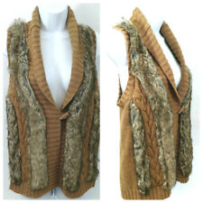 S. OLIVER Womens Faux Fur Vest Sweater Brown Boho Hippie