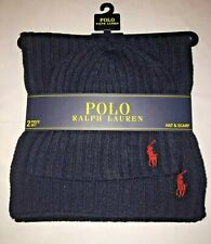 Polo Ralph Lauren Navy Wool Hat & Scarf Large Maroon Pony 2 Piece Set