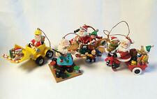 Santa Christmas Ornament Lot Front End Loader Plane Toy Painter Trike Set of 4