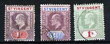 ST. VINCENT King Edward VII 1904-11 Watermark Mult. Crown CA Group SG 86 to 90