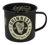 Enamel Mug Guinness Label Classic Retro Matte Black Round Handle Durable Steel
