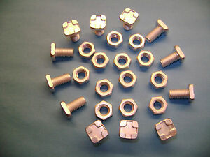 10 to 100 Greenhouse square head 11mm aluminium bolts+nuts(see also our clips