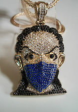 """Iced Out Gold Finish Goon Blue Mask Man Pendant w/ 4mm 36"""" Franco Chain"""