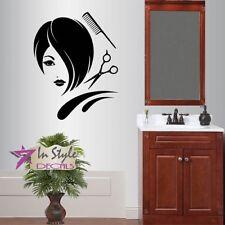 Vinyl Decal Hair Salon Girl Stylish Short Haircut Scissors Comb Wall Sticker 645