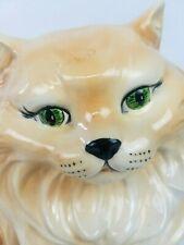 "Vintage (1979) Large 14"" Ceramic Porcelain Persian Cat Kitty Statue Green Eyes"