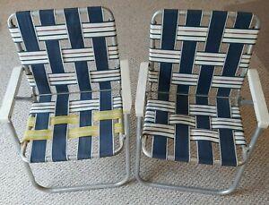 Set of 2 Vintage Web Style Sunbeam Aluminum Folding Lawn Chairs Patio Webbing