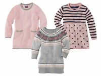 Girls' Knitted Dress Pink Gray Heart Tunic Sweater 12 24m 2 3 4 5 6 7 8 age