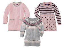 Girls' Knitted Jumper Dress Pink Gray Heart Tunic Sweater 12 24m 2 3 4 5 6 7 8 Y