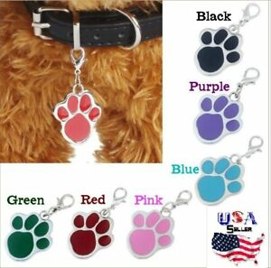 Enamel Paw Print Collar Charm - Zipper Pull - Tag - dog, puppy, black red purple