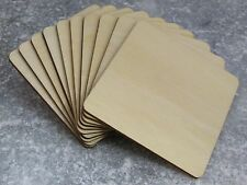 Wooden Square Shape Coasters Plain Wood Craft Blanks 10cm (10mm) Blank Squares
