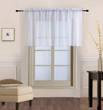 1 Piece Sheer Voile Rod Pocket Multi Use Straight Window Curtain Valance Topper