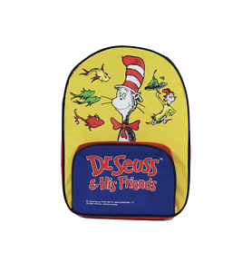 Vtg 90s Dr Seuss Cat in the Hat Spell Out Color Block Small Backpack Book Bag