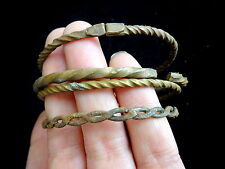Antique West African Lot Currency Bangles 3 Twisted Copper 1 Plated Iron
