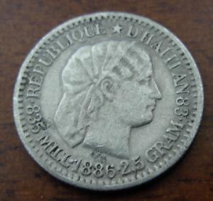 Haiti 1886 Silver 10 Centimes XF - AU