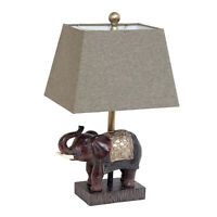 Lalia Home Traditional Elephant Table Lamp with Fabric Shade