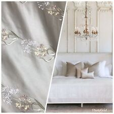 RARE! 100% Silk Dupioni Embroidered Floral Taupe Fabric BTY