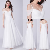 Ever-Pretty White Wedding Dresses Long Formal Cold Shoulder Party Dress 07519