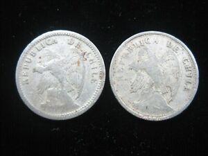 CHILE 20 Centavos 1924 & 1932 Pair Chilean Andean Condor Bird 616# Money Coin