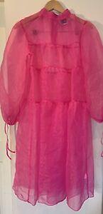 Reclaimed Vintage ASOS Women Pink Sheer Smock MIDI Long Sleeve Dress UK8(36)