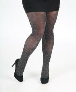 black with silver lurex glitter ribbed tights  from pamela mann (one sze)  (7)