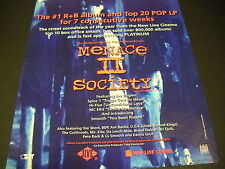 Menace Ii Society Top R&B/Pop lp for 7 Weeks 1993 Promo Poster Ad mint condition