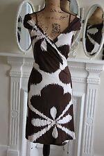 Diane Von Furstenberg Medium Sleeveless Silk Wrap Dress Brown PERFECT 12 14 M !