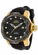 Invicta 19316 Venom Sea Dragon Automatic Gold SS Case Silicone Strap Black Dial