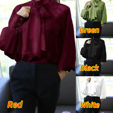 Women Silky Satin Puff Sleeve Bow Tie Victorian Party Shirt Office OL Blouse Top