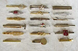 Lot of 18 Vintage Tie Bars * Slide-On Style * Swank * Anson * Nice