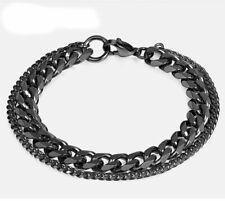 Pulsera para hombre de tipo doble cadena en acero inoxidable negro o plateado
