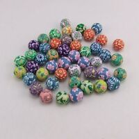90X ixed Assorted Round Fimo Polymer Clay Beads Flower 6mm,8mm,10mm,12mm,15mm
