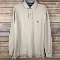 Tommy Hilfiger Men's Long Sleeve Crest Polo Shirt Size Large L Light Beige