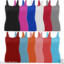 Womens Ladies & Girls Stretchy Ribbed Vest Top Summer Rib Strap Vest UK 16-26