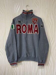 AS ROMA FOOTBALL SOCCER SWEATSHIRT KAPPA sz L GRAY