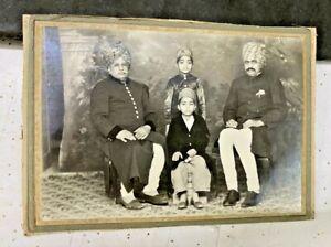 OLD VINTAGE RARE INDIAN ROYAL KING & FAMILY BLACK & WHITE PHOTO ON CARDBOARD