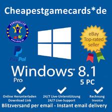 MS Win 8.1 pro Microsoft Windows 8.1 Pro 5pc 32+64 bit OEM product key tramite email