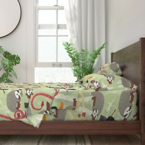 Jungle Animal Rainforest Animals Sloth 100% Cotton Sateen Sheet Set by Roostery