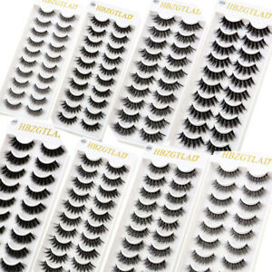 2021 New 10 Pairs 3D Mink False Eyelashes Wispy Cross Fluffy Extension Lashes