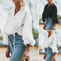 ZANZEA 8-24 Women Casual V Neck Tie Up Cotton Top Tee T Shirt Long Sleeve Blouse