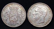 Belgique 5 Francs 1870 Léopold II Roi des Belges Argent 25gr