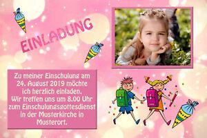 Dein Foto - Einschulung Danksagungskarten Einladung Fotokarten Rosa Traum