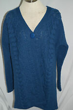 ARAN CRAFTS Cable Knit Merino Wool One Button Sweater Coat Blue Ireland Size L